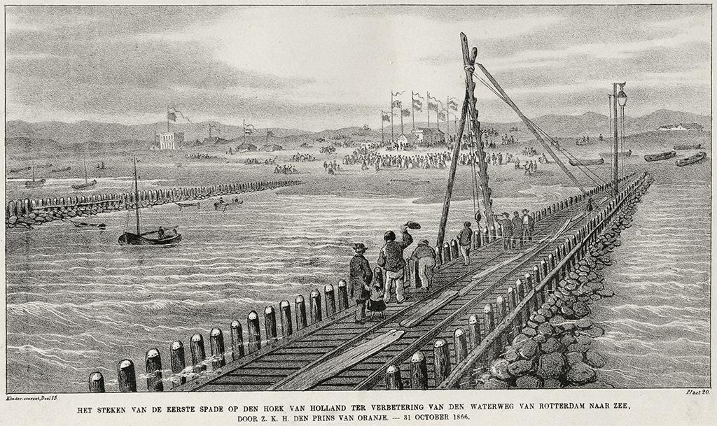 Het steken van de eerste spade voor de aanleg van de Nieuwe Waterweg, door de Prins van Oranje, op 31 oktober 1866. Een prent uit het Gemeentearchief Rotterdam.