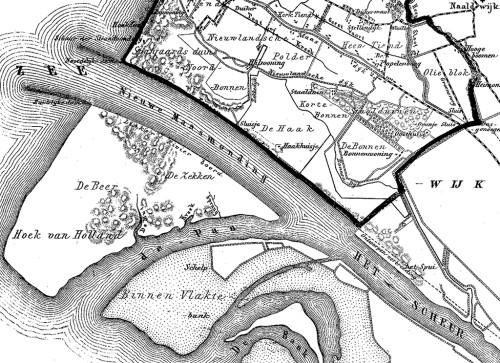 De Nieuwe Waterweg op een kaartfragment uit de Gemeente-Atlas 1866-1870 van Jacob Kuyper.