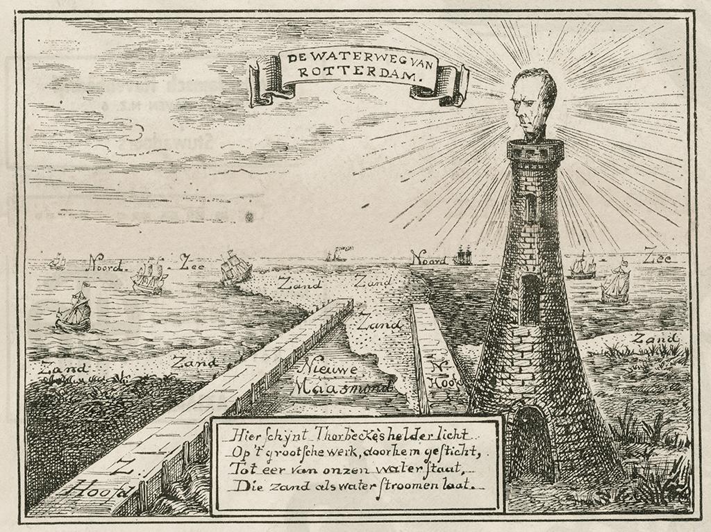 In 1871 verscheen in de Nederlandse Spectator een spotprent waarop Thorbeckes hoofd als vuurtoren fungeert. De aanleiding hiervoor waren de problemen met verzanding van de Nieuwe Waterweg.