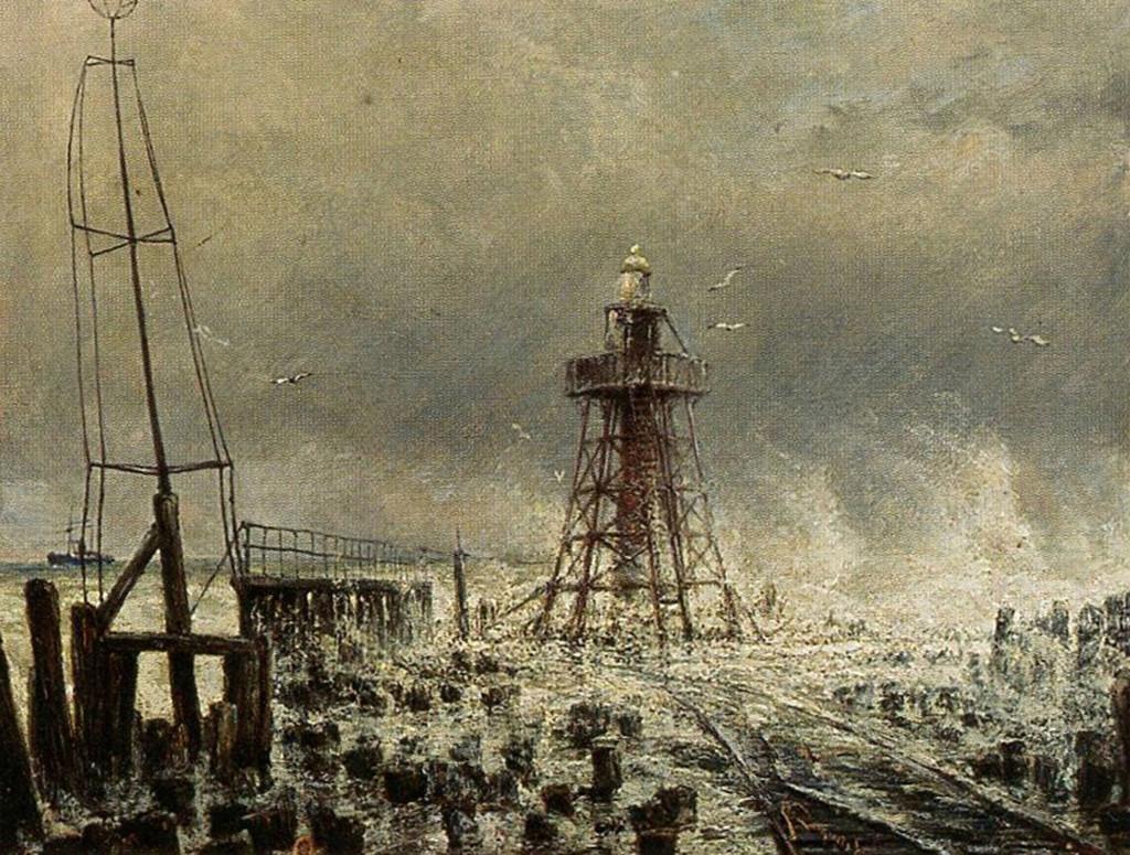 De vuurtoren op het Noorderhoofd in 1893. Olieverf op doek, C.C. Dommelshuizen.